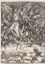 The Apocalypse - The great dragon cast out. Fantasy, antique print 1876